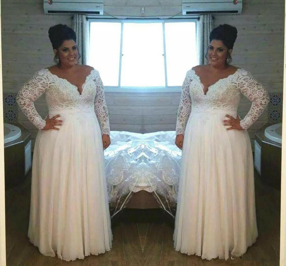 Long Sleeve White/Ivory Lace Wedding Dress Bridal Gown