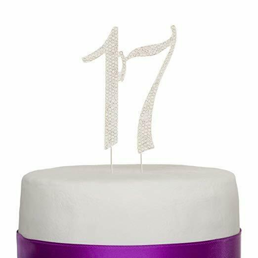 Details About 17 Cake Topper For 17th Birthday Rhinestone Number Party Supplies Silver