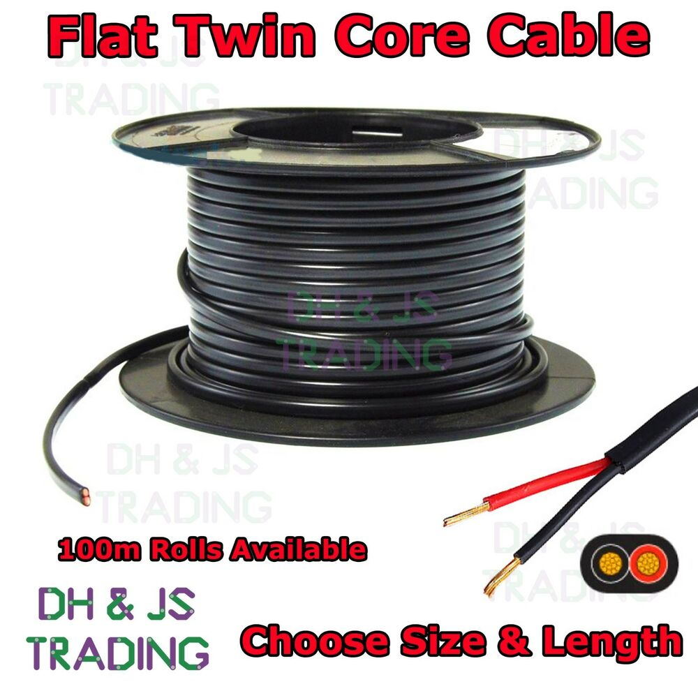 Flat Twin Core Cable Flexible Auto Car Marine 0.65mm - 2.0mm (5 Amp ...