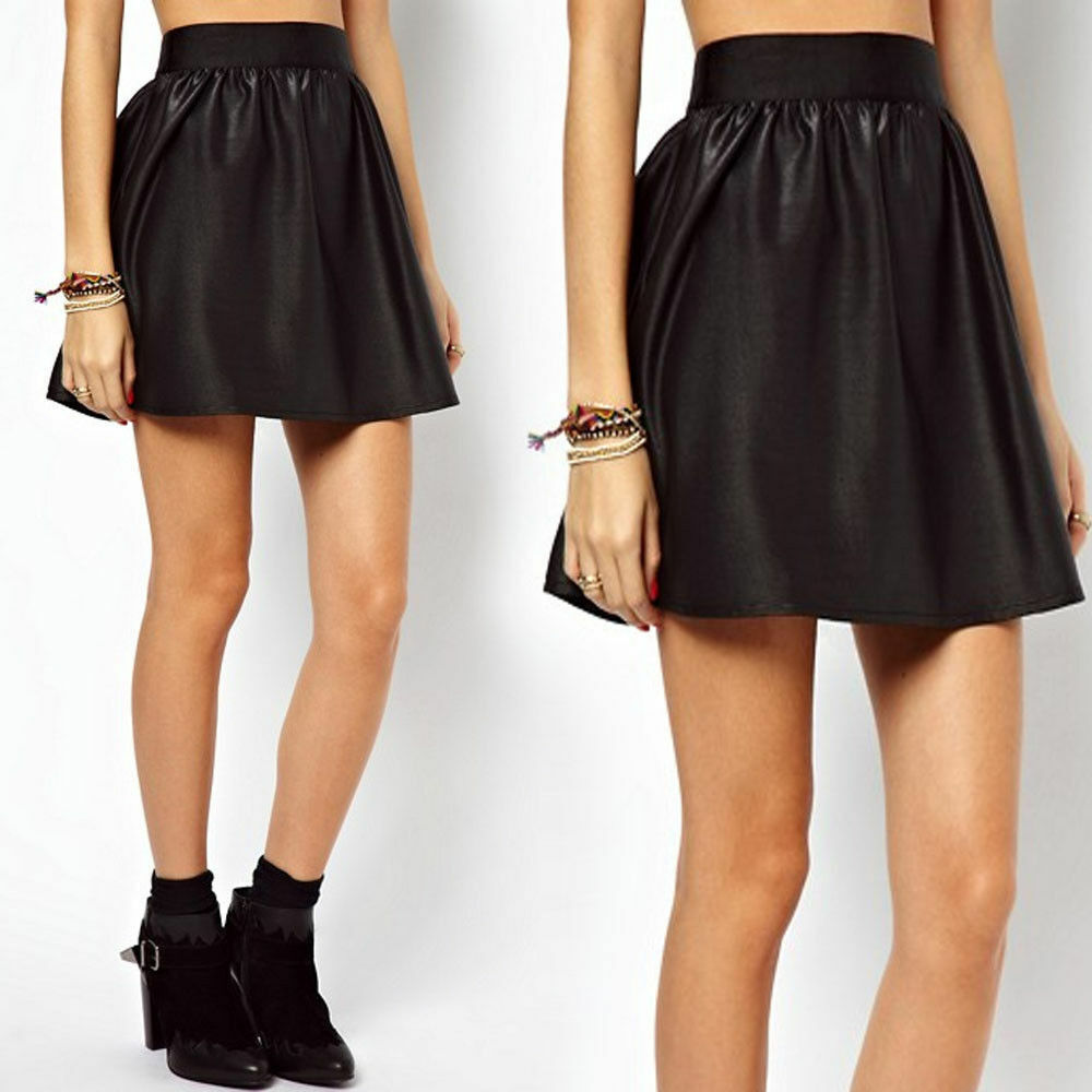 07fb5a0a7993a WOMENS LADIES BLACK WET LOOK SKATER SKIRT PVC SHINY PLUS SIZE OFFICE FORMAL  8-26