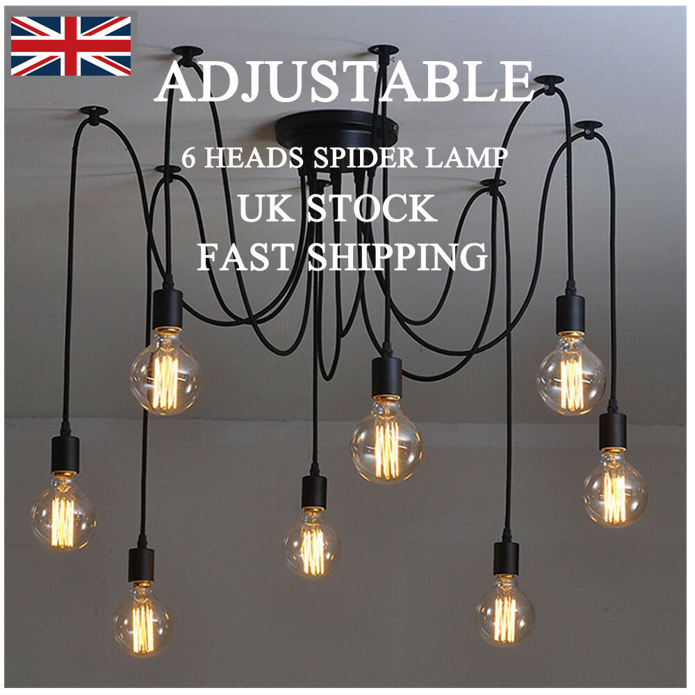 Details about 6 head vintage retro adjustable ceiling spider lamp light chandelier lighting uk