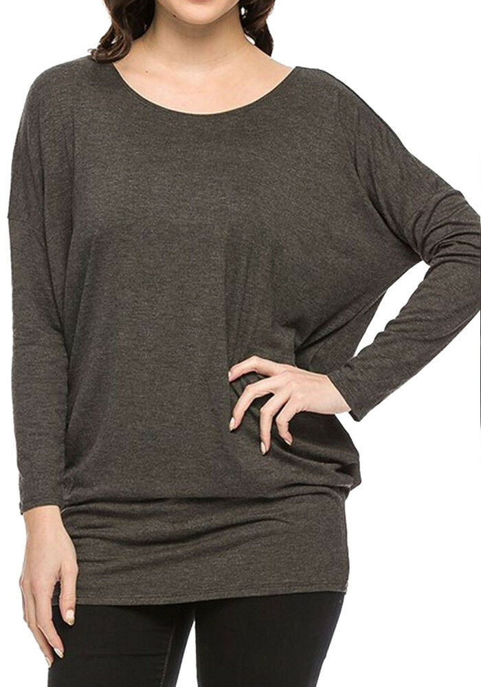 Women S Junior Plus Size Soft Long Sleeve Dolman Piko Bat Wing Top Shirt Ebay