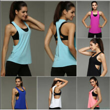 Women Vest Workout Tank Top T-shirt Sport Gym Clothes Fitness Yoga Tank Shirt#1