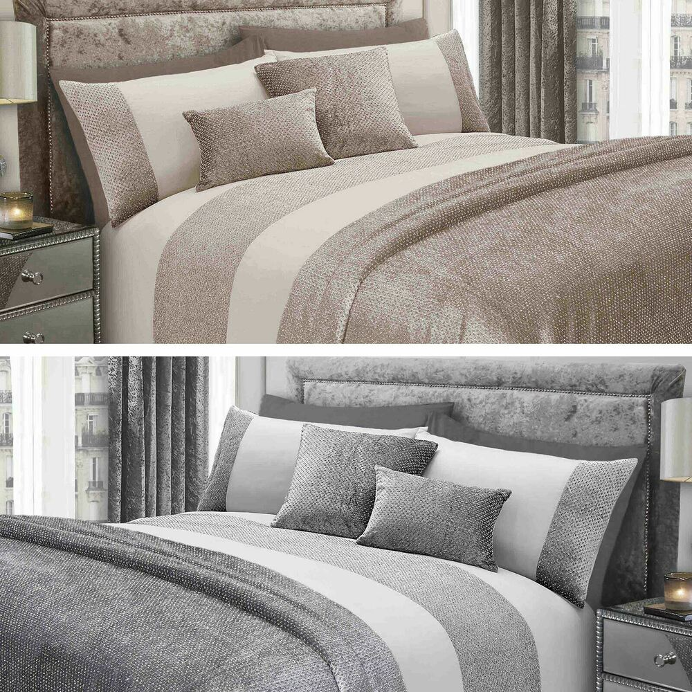 Sienna Glitter Velvet Duvet Cover With Pillowcase Bedding