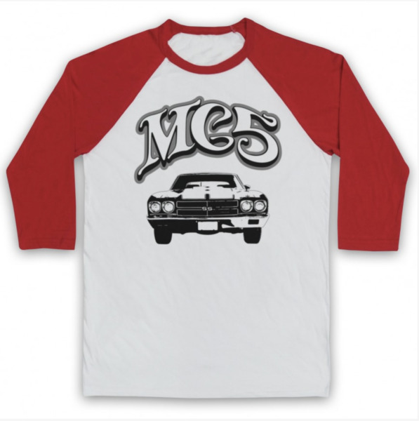 MUSCLE CAR THE MC5 RETRO UNOFFICIAL GARAGE ROCK BAND 3/4 SLEEVE BASEBALL TEE