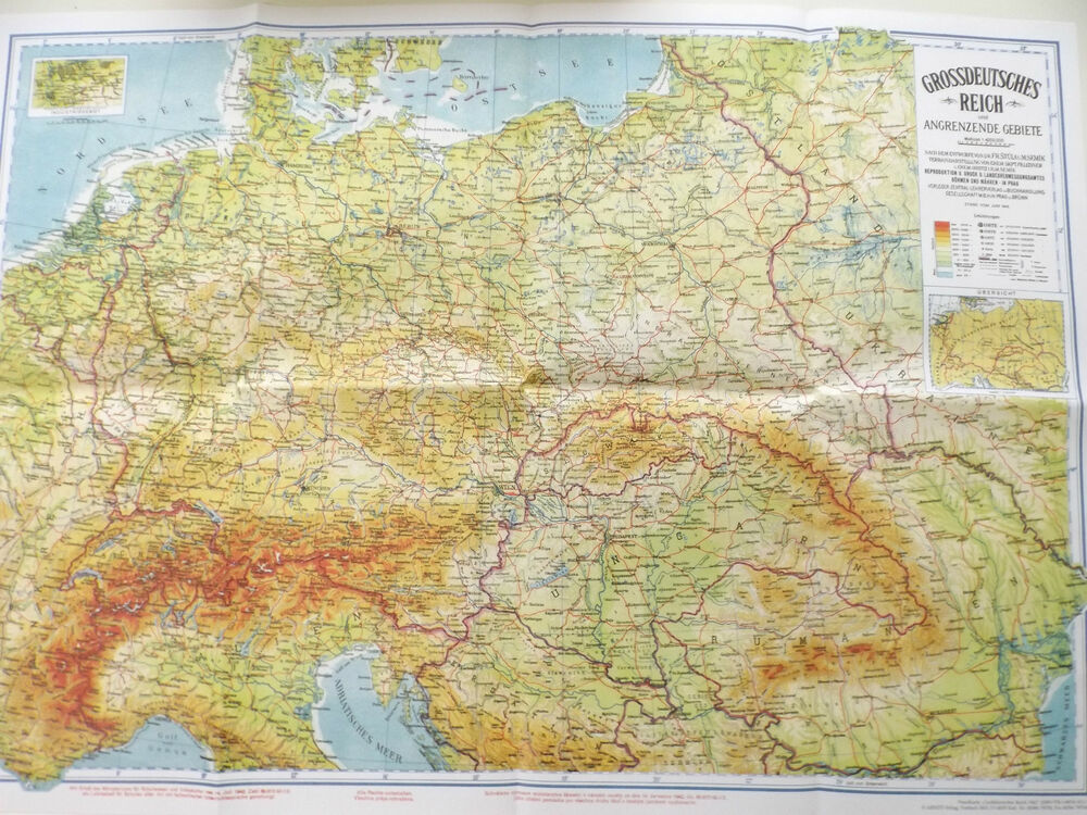 Map Of Germany 1942.Map Historical School Map Great Germany Great German Empire 1942 Ebay