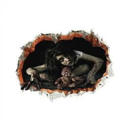 CREEPY GIRL & DOLL IN WALL 22'' x 16''  3D Removable Die-cut Wall Decal (#1498)
