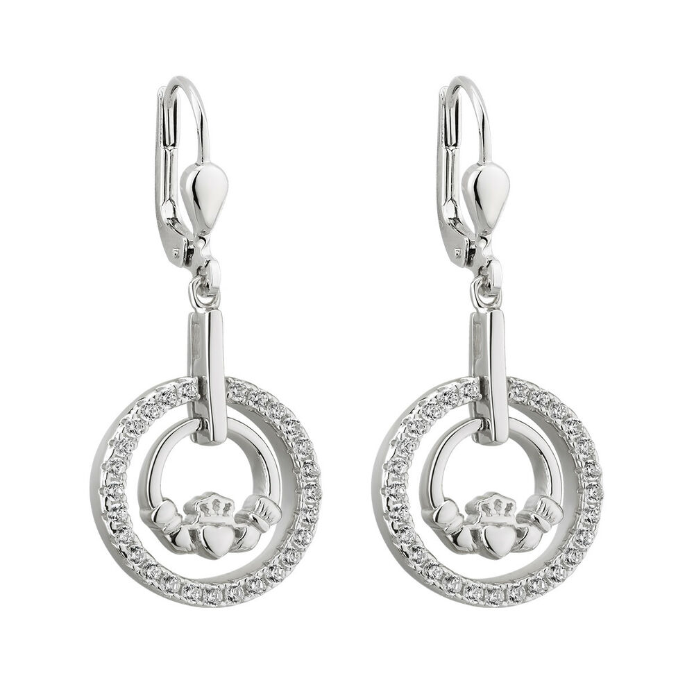 e5073dfda Details about Solvar Sterling Silver Claddagh Drop Earrings s33903 Made in  Ireland