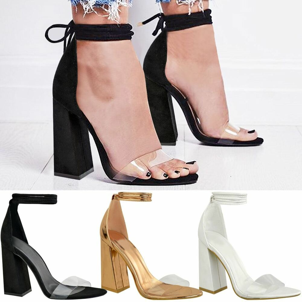 0311da7bbf60 Details about New Womens Perspex Clear Block Heel Strappy Sandals Ankle  Lace Tie Up Size
