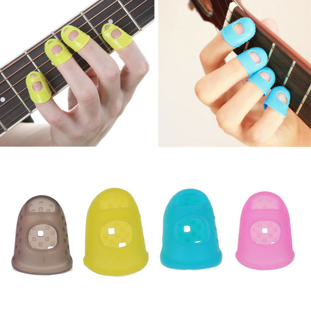 Guitar Finger Guards : guitar finger protector fingertip picks silicone guard 4pk plectrum bass ukulele ebay ~ Vivirlamusica.com Haus und Dekorationen