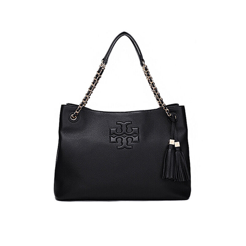 840773c23dfce Details about TORY BURCH Thea Chain Shoulder Slouchy Womens Daily Leather  Bag Gift NWT Black
