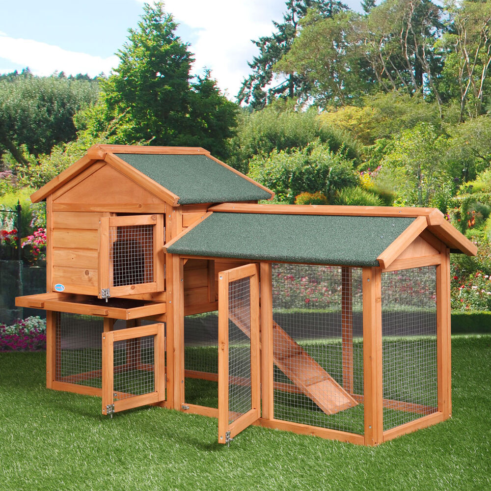 "58"" Chicken Coop Backyard Hen Wooden Rabbit House Wood"