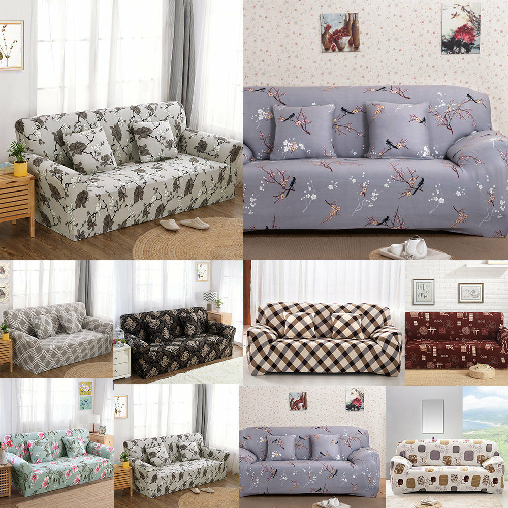 1/2/3 Seater Sofa Covers Couch Slipcover Stretch Elastic Fabric ...