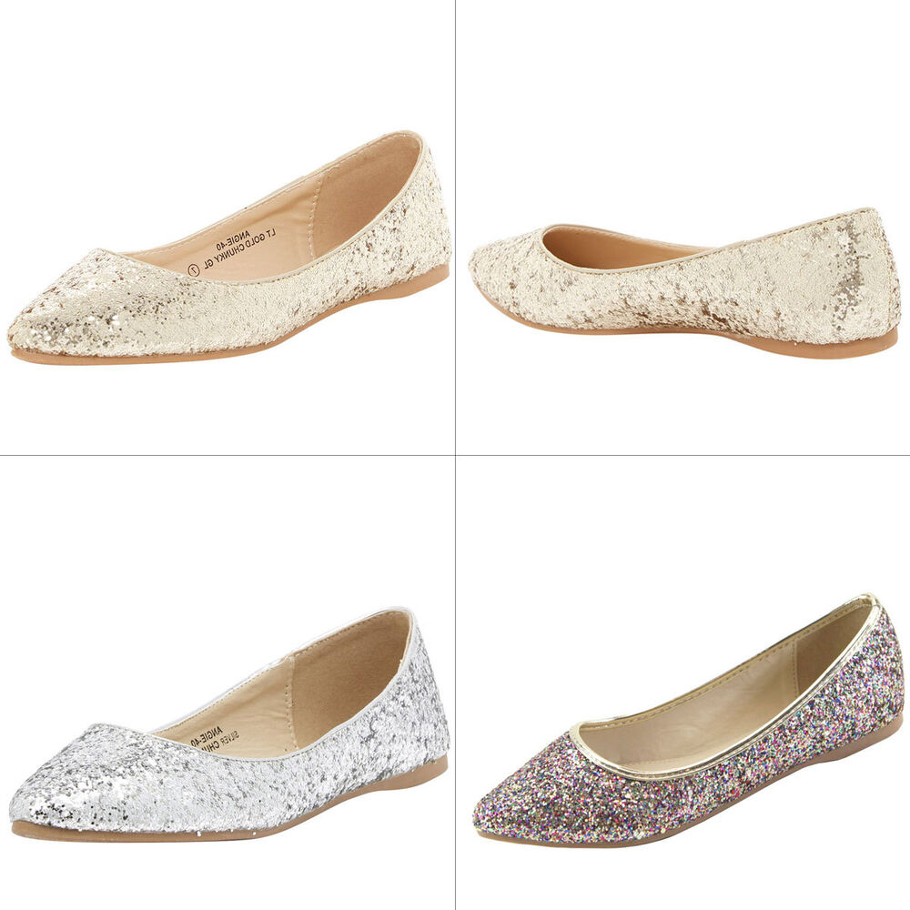 a608bfe1f Details about NEW Encrusted Glitter Pointy Toe Womens Ballerina Ballet Flat  Slide Slip On Shoe