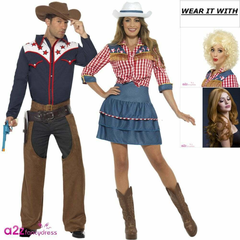 ad9510b820f Details about Rodeo Cowboy   Doll Costume Adult Western Wild West Fancy  Dress Couples Outfit