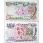 Stunning ORCHID Series A1 Set of $1000 and $500 Old Singapore Bank Notes