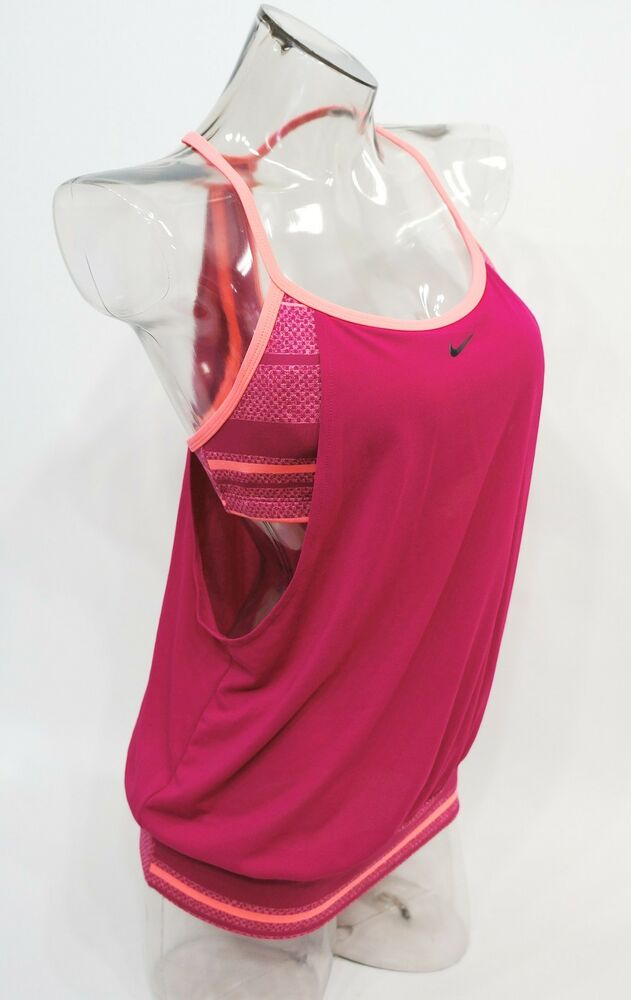 015bdb617a4 Details about Nike Pink Filtered Striped Sporty 2-in-1 Tankini Top Swimwear  S