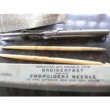 American Art Needle Co's BROIDERFAST Embroidery Needle + TWO Carved Bone Needles
