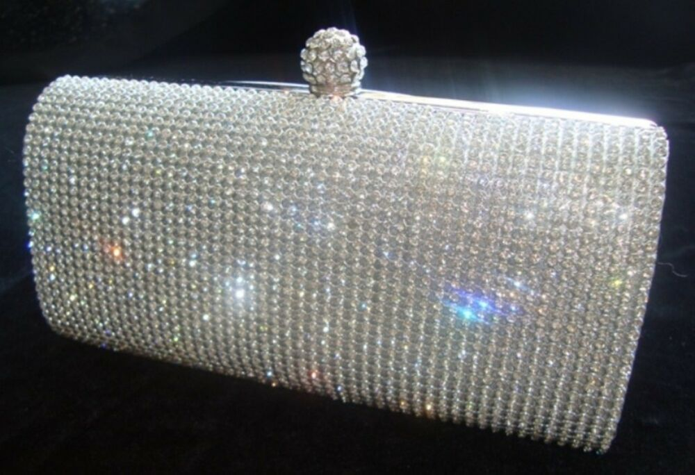 Details about New Silver Diamante Diamond Crystal Evening bag Clutch Purse  Party Prom Wedding 5be44171b6314