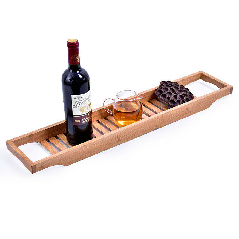 New Bamboo Bathtub Rack Bath Tray Shelf Shower Tub Book Holder ...