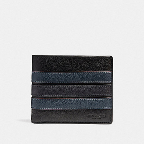 75ae1284fd86 Details about New Authentic Men Coach F24649 3-In-1 Leather Wallet With  Varsity Stripe w Box