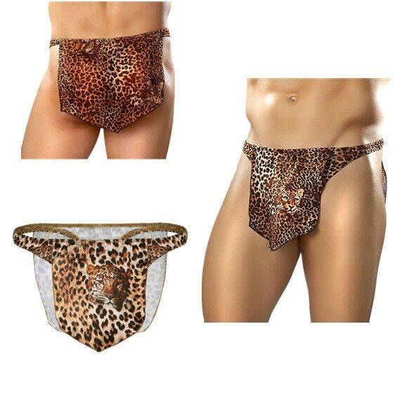 8cfdd0d5f9eb Set Include: 1 x Men's Underwear Condition: New with tag. Material:  Polyester Color: Brown(as pictures show). Features: Jungle Man Costume G-string  Thong ...