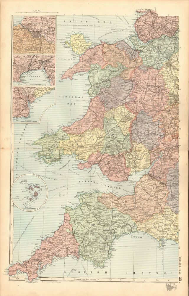 1893 Antique Map Wales England South West Bristol