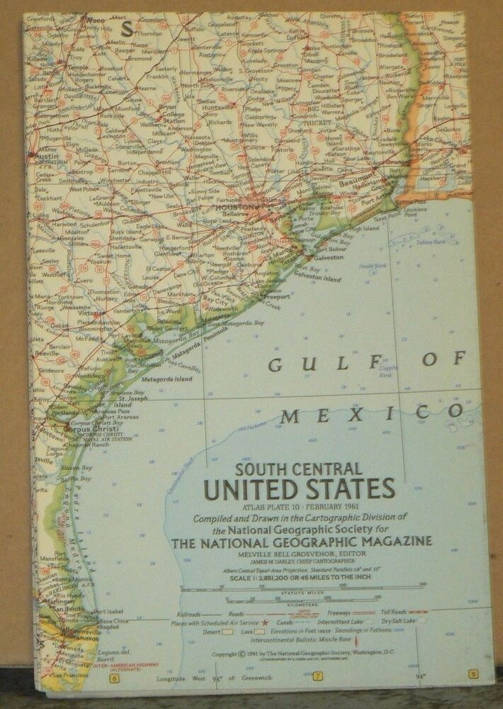 1961 National Geographic Map of South Central United States | eBay