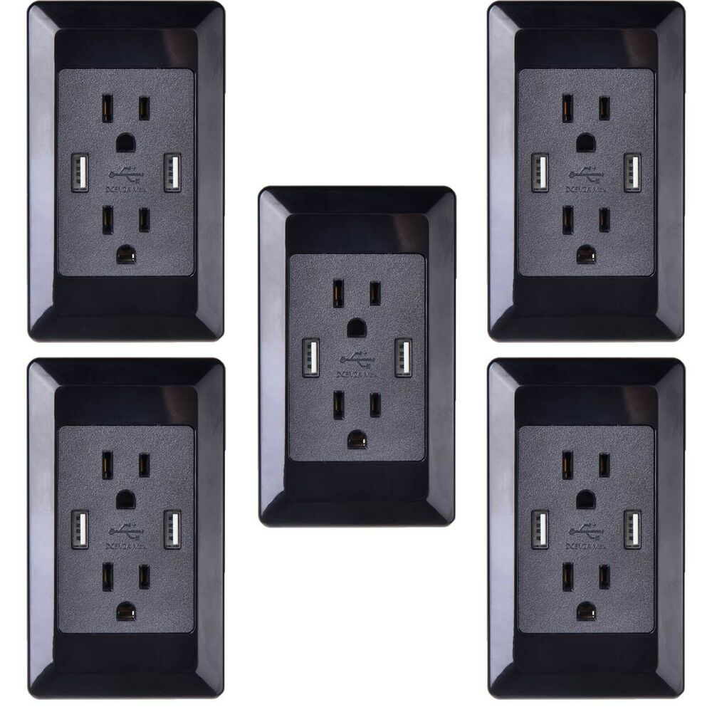 5pk Home Office Power Socket Wall Outlet Usb Ports Electrical Plug W