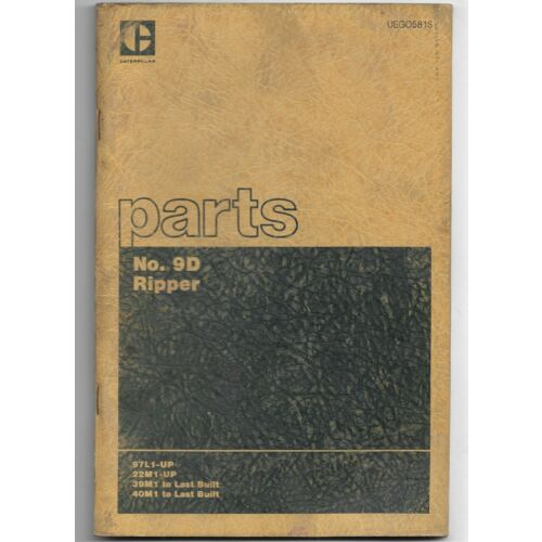 original-caterpillar-model-9d-rippers-parts-book-catalog-manual-uego581s