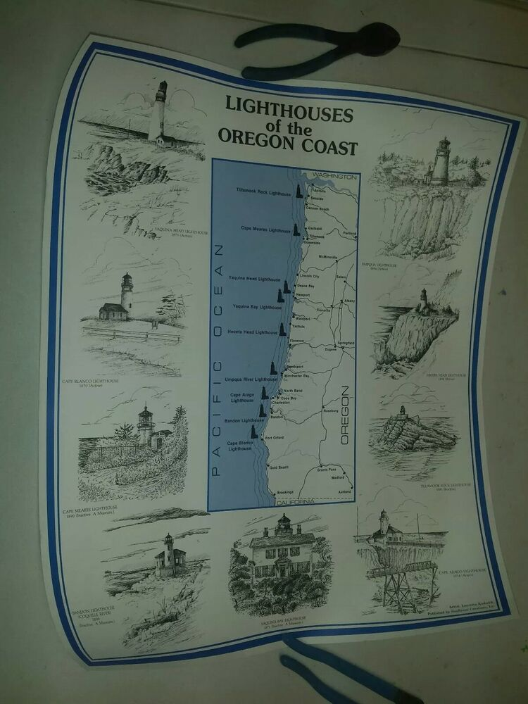 Lighthouses In Oregon Map.Lighthouses Of The Oregon Coast Map Suitable For Framing