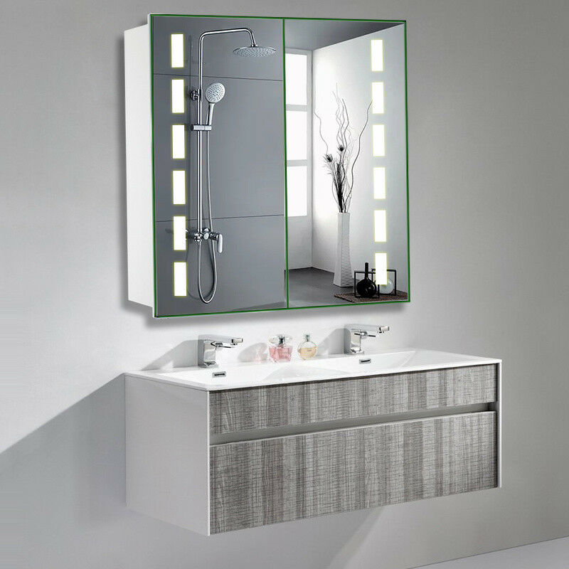 Large Bathroom Mirror Glass Cabinet With Led Lights Bluetooth And