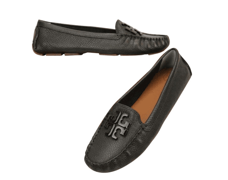 6157dc302778fd Details about Tory Burch NEW Lowell Driver Moccasin Black Tumbled Leather  Flats Authentic  265