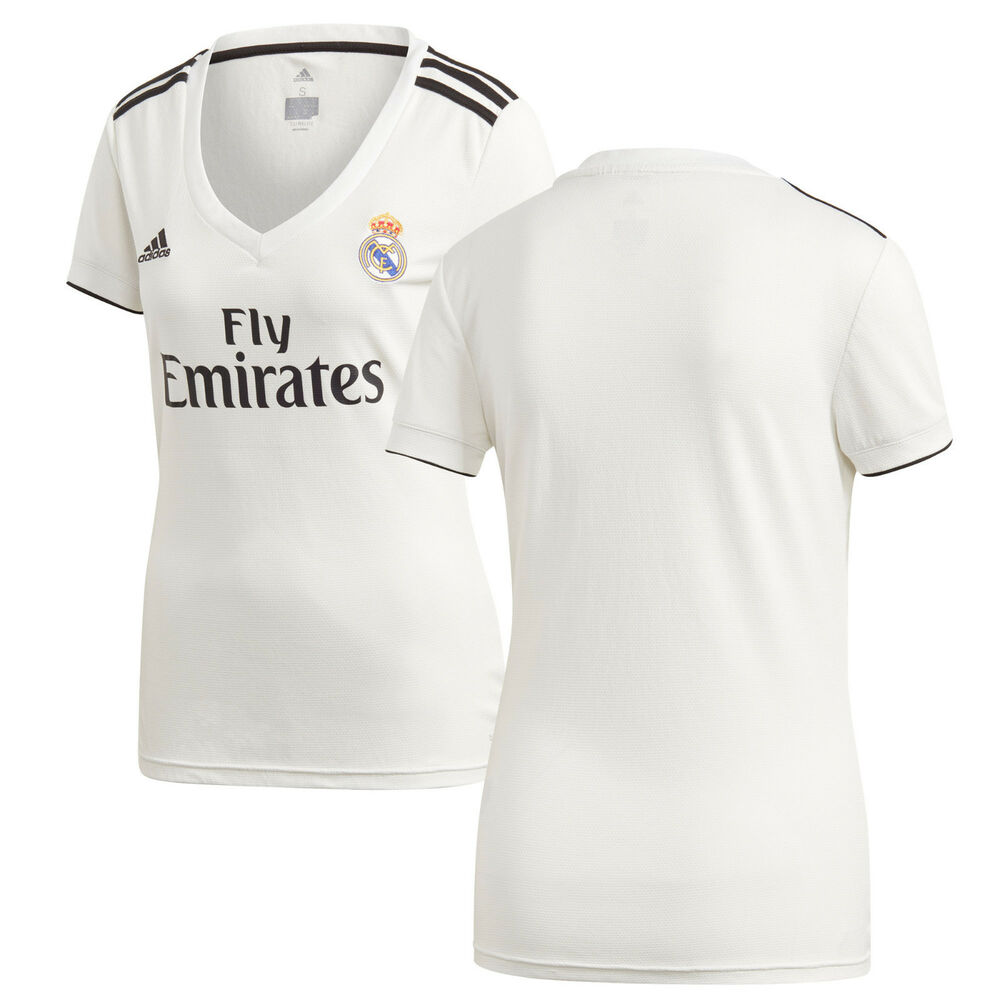 Details about adidas Real Madrid 2018 - 2019 Womens Home Soccer Jersey  Brand New White   Black 0e362ee03