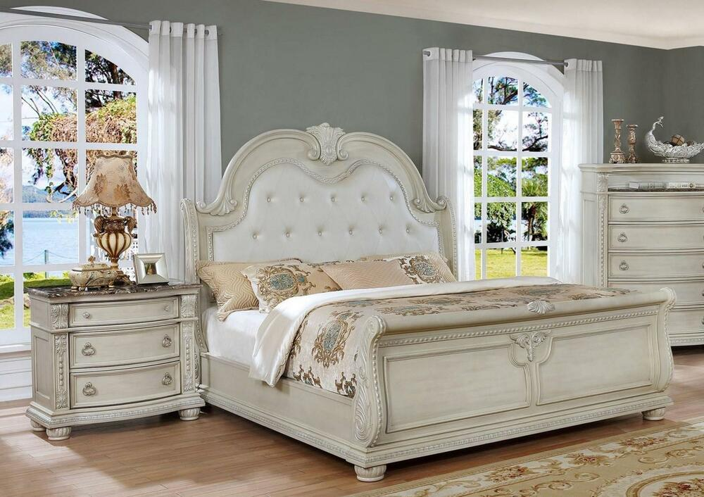 Antique white solid wood queen bedroom set 3pcs classic - Real wood bedroom furniture sets ...