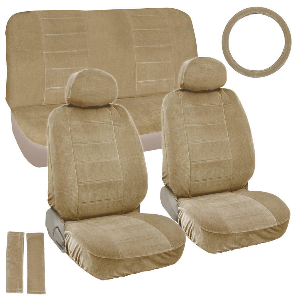 Details About Vintage Soft Thick Seat Covers W Steering Wheel Cover Belt Pads 9pc