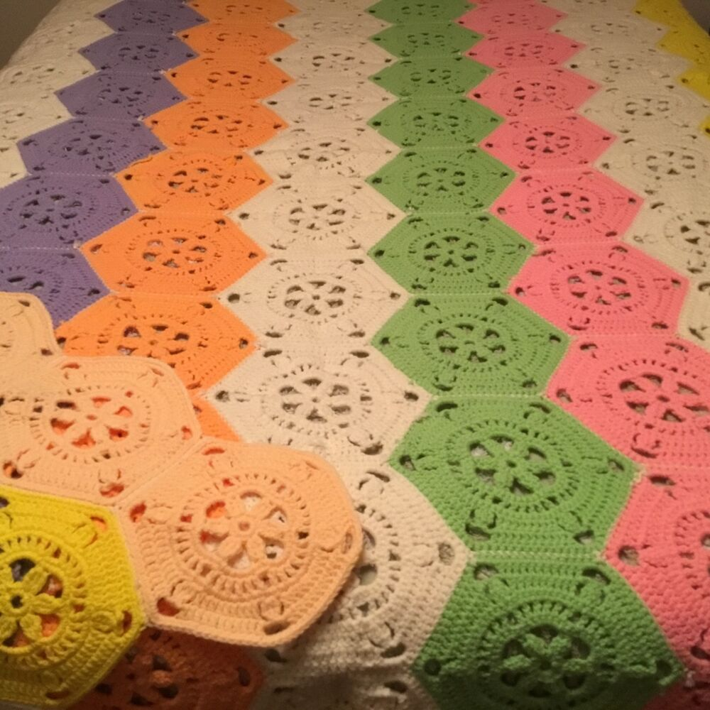 Beautiful Extra Large Hand Crocheted Hexagon Afghan Pastels 86 X