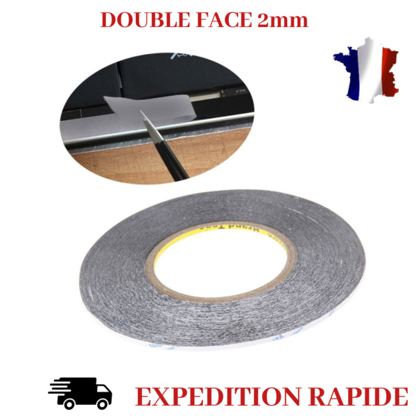 DOUBLE FACE RUBAN ADHESIF 3M POUR VITRE TACTILE REPARATION TELEPHONE 2mm X 50M