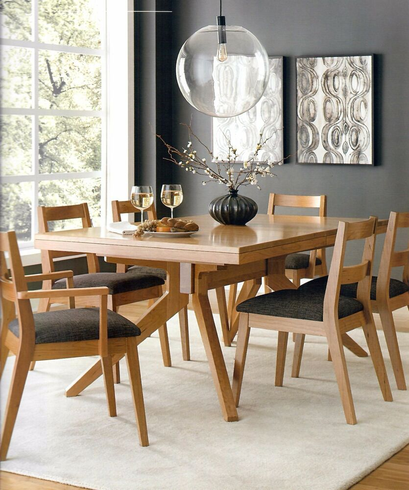 Amish Rustic Plank Top Dining Set Round Pedestal Solid: Amish Modern Mid-Century Trestle Dining Table Set 7-Pc