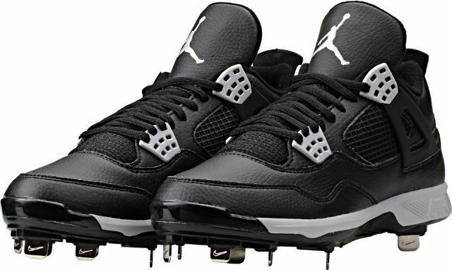 low priced d35ec 1efdc Nike Air Jordan 4 IV Retro Black Metal Baseball Cleats (807710-010) Size 16  US 888410391006   eBay