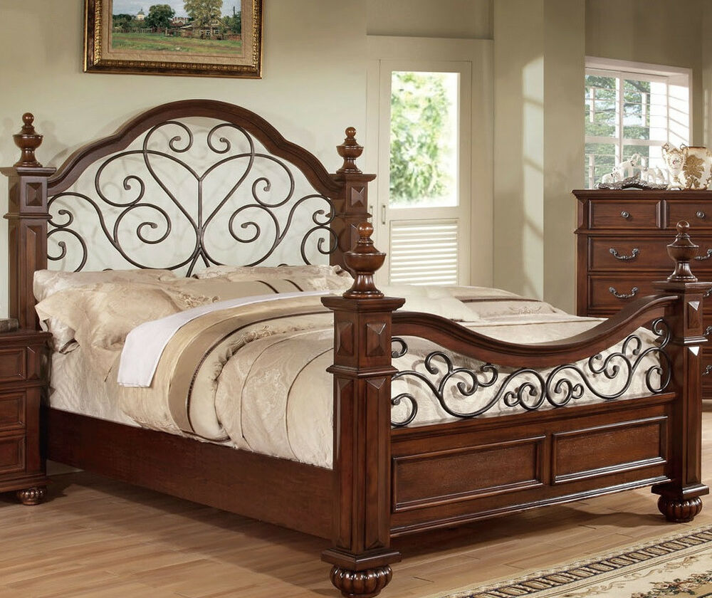 Details about antique traditional queen king bedroom furniture classic style bed frame new