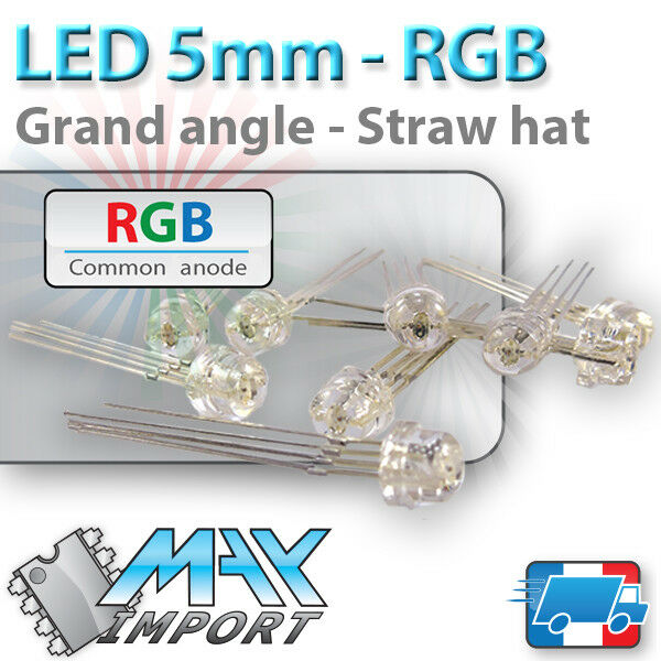 LED RGB 5mm ( Grand Angle ) Anode commune - Lots multiples, prix dégressif