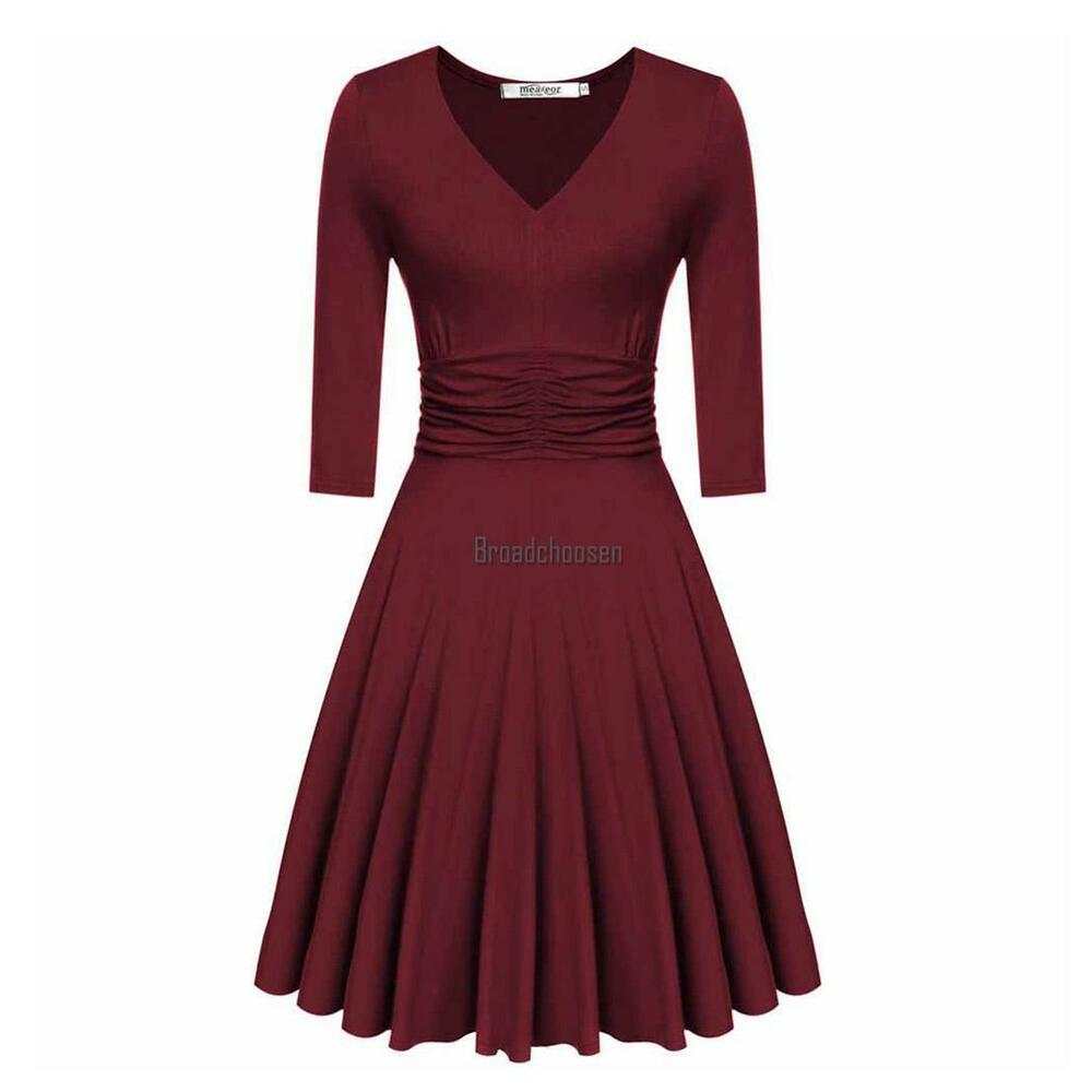 01af206da59 Details about Women V-Neck 3 4 Sleeve Ruched Waist Casual Party Swing long  Dress elegant sexy