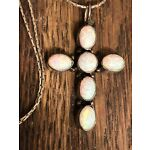 """NAKAI Sterling Silver 925 Opal Cross Pendant Necklace 6 Stones 18"""""""