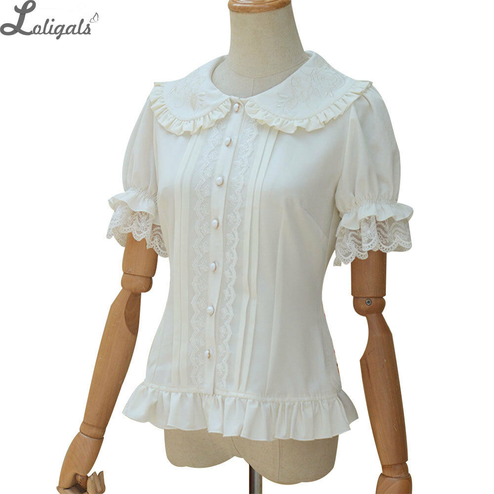 8be79a2b641 Details about Sweet Lolita Shirt Short Sleeve Embroidered Peter Pan Collar White  Ruffle Blouse