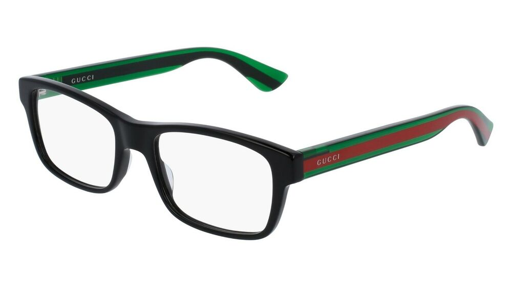 09635f8c950 Details about NEW GUCCI Black Green Transparent Stripe Full Rim Eye Glasses  Frame GG 0006O 002