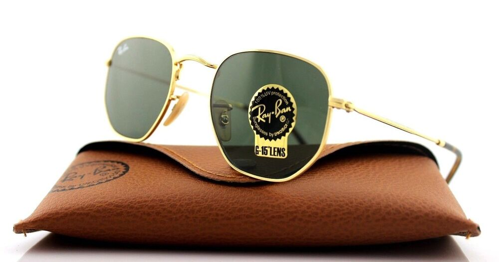 c322599861081 Details about NEW Genuine RAY-BAN HEXAGONAL FLAT LENSES Gold Green G-15  Sunglasses RB3548N 001
