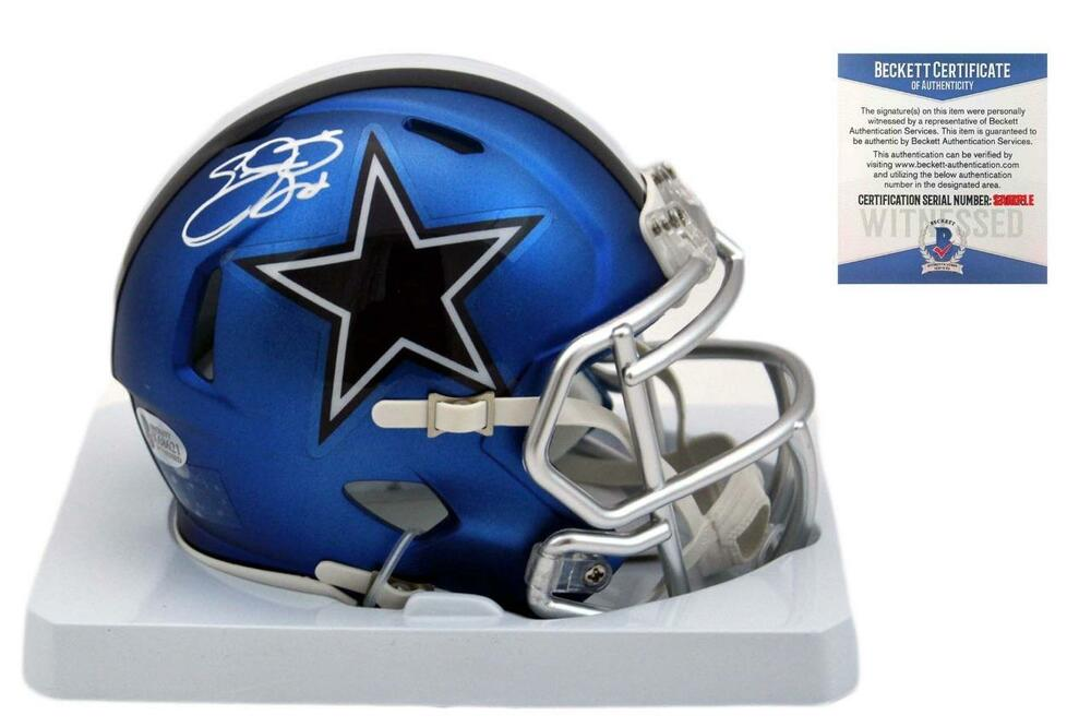 6ee83f223 Details about Emmitt Smith Autographed SIGNED Dallas Cowboys BLAZE Mini  Helmet - Beckett