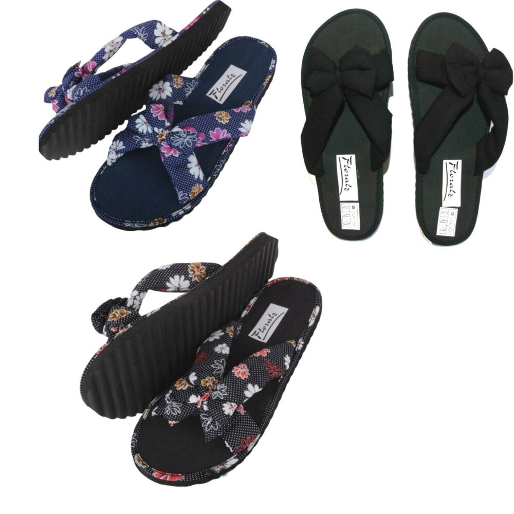Ladies Fabric Bow Front Slip On Mule Flip Flop Summer -2206