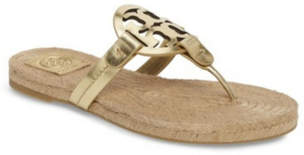 7a6e4f150d93 Details about Tory Burch NEW Miller Gold Mirror Metallic Leather Espadrille  Flat Thong Sandal